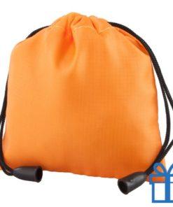 Klein trekkoord tasje oranje bedrukken