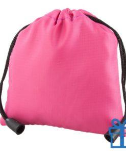 Klein trekkoord tasje roze bedrukken