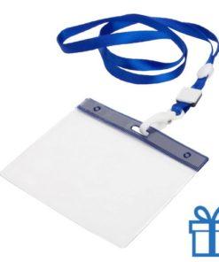 Lanyard PVC naamkaarthouder blauw bedrukken