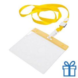Lanyard PVC naamkaarthouder geel bedrukken