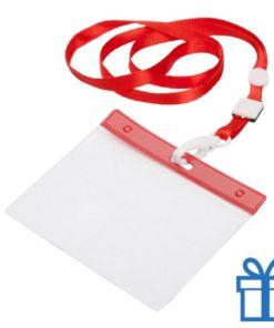 Lanyard PVC naamkaarthouder rood bedrukken