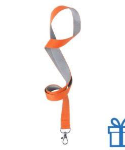 Lanyard tweekleuren oranje bedrukken