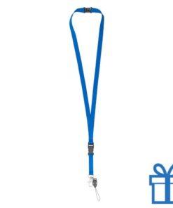Lanyard veiligheidsluiting blauw bedrukken