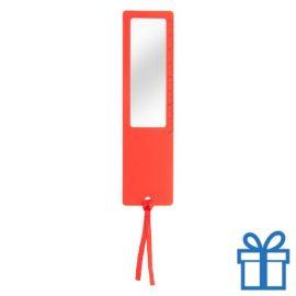 Liniaal vergrootglas 8cm rood bedrukken