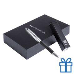 Luxe pennenset leder 2200 mAh bedrukken