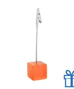 Memoclip gekleurd metaal oranje bedrukken