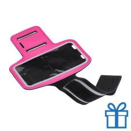 Mobiele armband reflecterend roze bedrukken