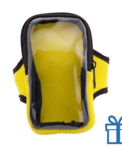 Mobiele telefoon hoes armband geel bedrukken