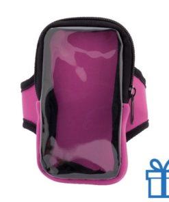 Mobiele telefoon hoes armband roze bedrukken