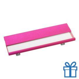 Naamplaatje goedkoop roze bedrukken