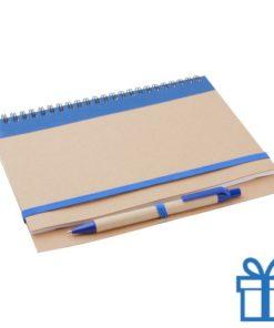 Notebook milieuvriendelijk papieren balpen blauw bedrukken