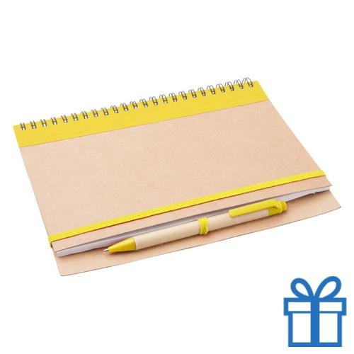 Notebook milieuvriendelijk papieren balpen geel bedrukken