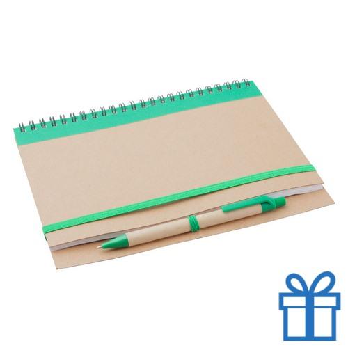 Notebook milieuvriendelijk papieren balpen groen bedrukken