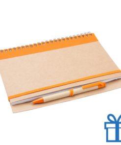 Notebook milieuvriendelijk papieren balpen oranje bedrukken