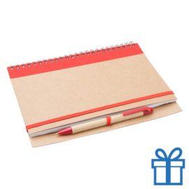 Notebook milieuvriendelijk papieren balpen rood bedrukken