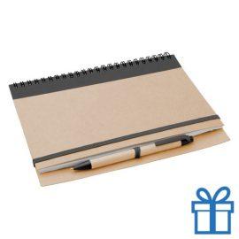 Notebook milieuvriendelijk papieren balpen zwart bedrukken