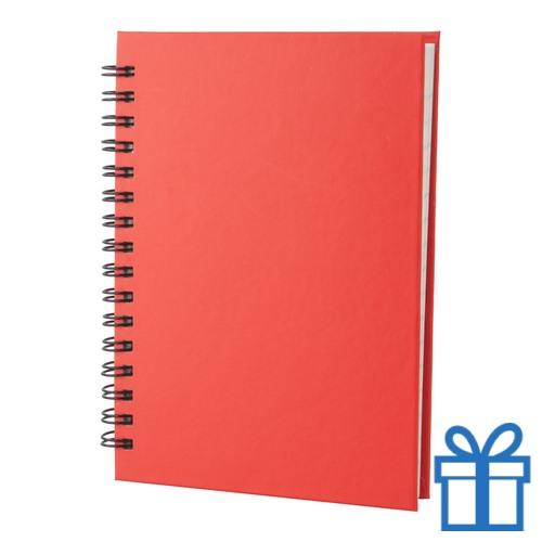 Notitie blok A6 gerecycled papier rood bedrukken