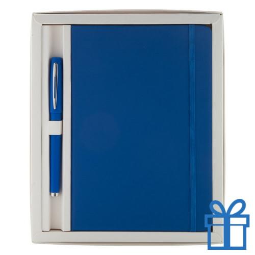 Notitieblok PU leder gekleurde balpen blauw bedrukken