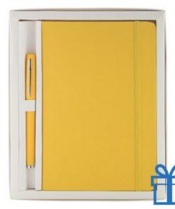Notitieblok PU leder gekleurde balpen geel bedrukken
