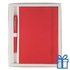 Notitieblok PU leder gekleurde balpen rood bedrukken