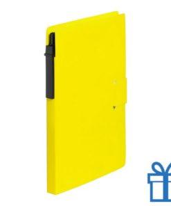 Notitieblok milieuvriendelijke balpen geel bedrukken
