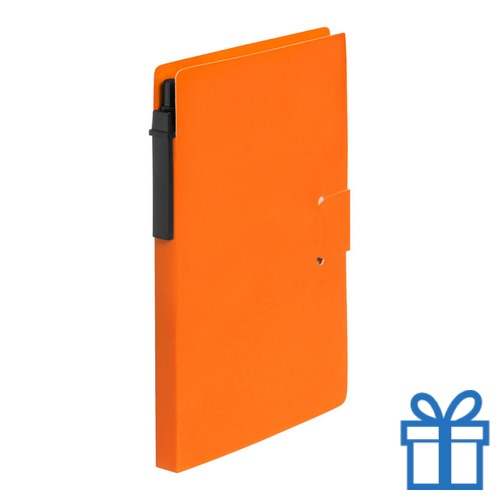 Notitieblok milieuvriendelijke balpen oranje bedrukken