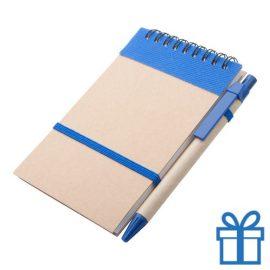 Notitieblokje gerecycled karton balpen blauw bedrukken