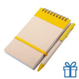 Notitieblokje gerecycled karton balpen geel bedrukken