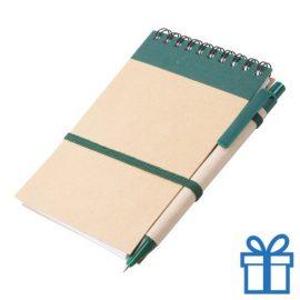 Notitieblokje gerecycled karton balpen groen bedrukken
