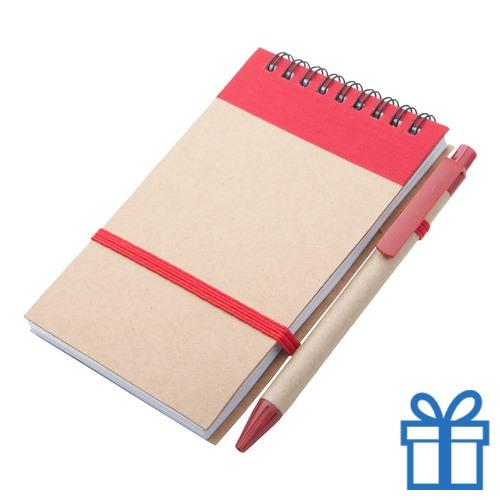 Notitieblokje gerecycled karton balpen rood bedrukken