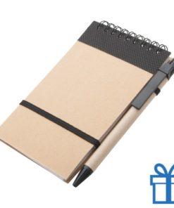 Notitieblokje gerecycled karton balpen zwart bedrukken