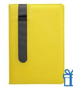 Notitieboek A5 PU lader pennenhouder geel bedrukken