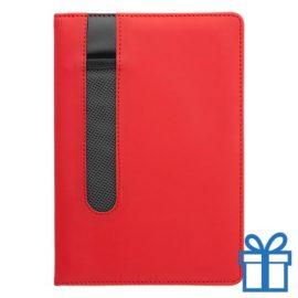 Notitieboek A5 PU lader pennenhouder rood bedrukken