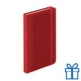 Notitieboek A5 PU leder 100 vel elastiek rood bedrukken
