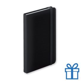 Notitieboek A5 PU leder 100 vel elastiek zwart bedrukken