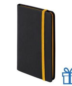 Notitieboek A6 PU leder cover geel bedrukken