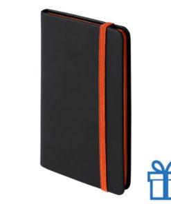 Notitieboek A6 PU leder cover oranje bedrukken