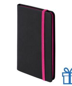 Notitieboek A6 PU leder cover roze bedrukken