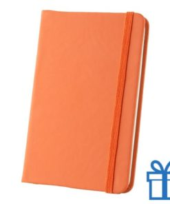 Notitieboek A6 PU leder touw oranje bedrukken
