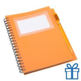 Notitieboek PP pen oranje bedrukken