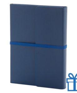 Notitieboek PU lederen cover gekleurd blauw bedrukken