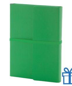 Notitieboek PU lederen cover gekleurd groen bedrukken