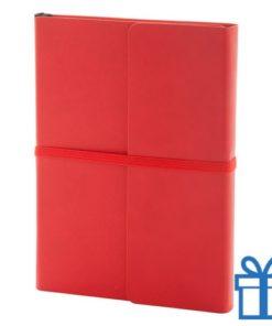 Notitieboek PU lederen cover gekleurd rood bedrukken