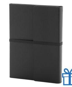 Notitieboek PU lederen cover gekleurd zwart bedrukken