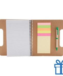 Notitieboek karton wit  band kleur  bedrukken