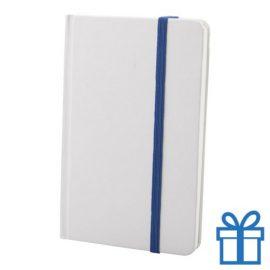 Notitieboek karton wit  band kleur blauw bedrukken