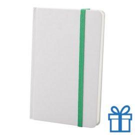 Notitieboek karton wit  band kleur groen bedrukken