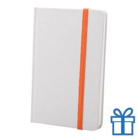 Notitieboek karton wit  band kleur oranje bedrukken