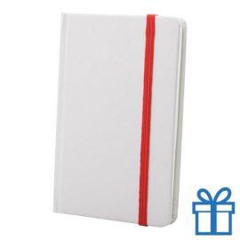 Notitieboek karton wit  band kleur rood bedrukken