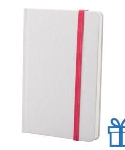 Notitieboek karton wit  band kleur roze bedrukken